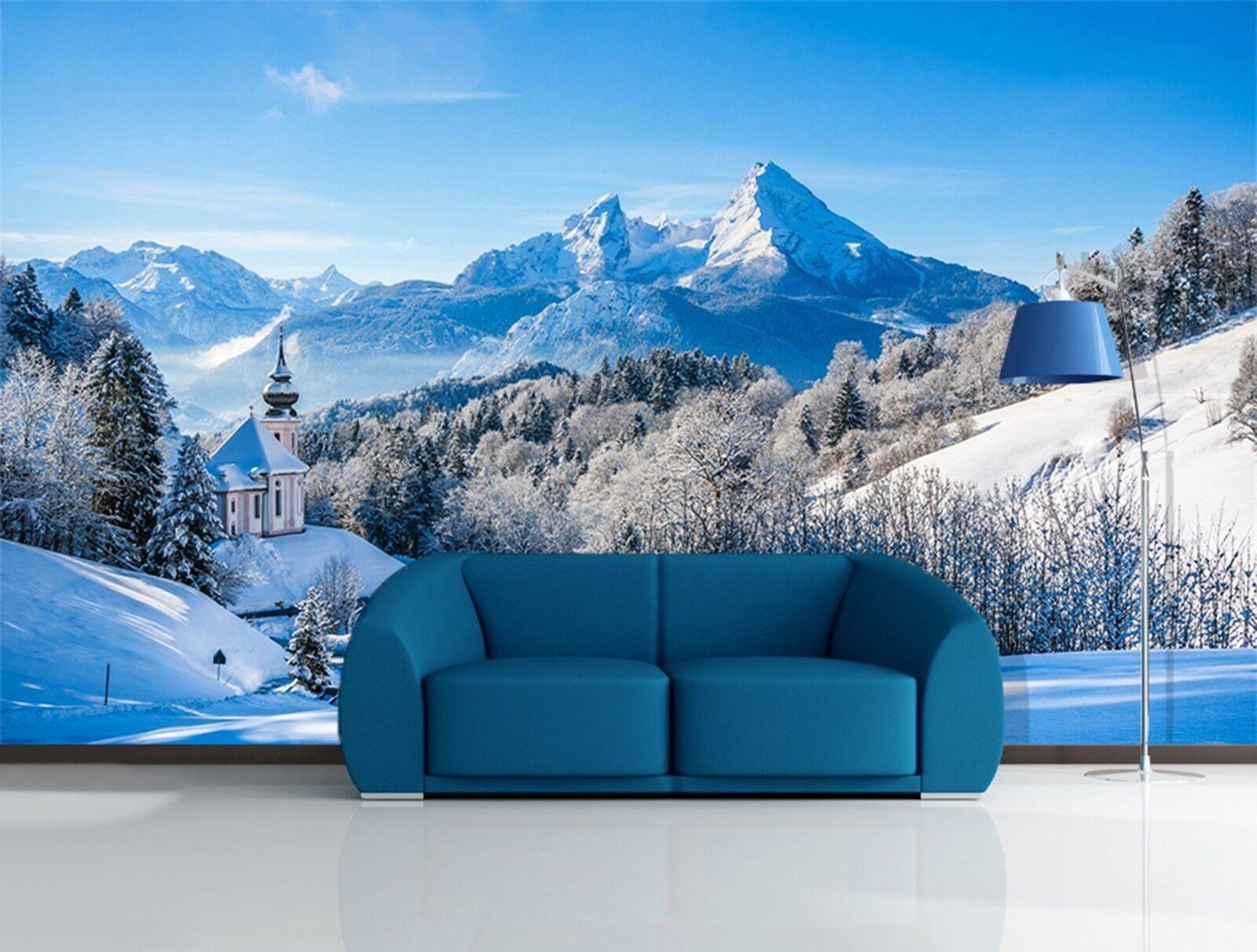 3D Schneeberg Landschaft 883 Tapete Wandgemälde Tapeten Bild Familie DE Lemon