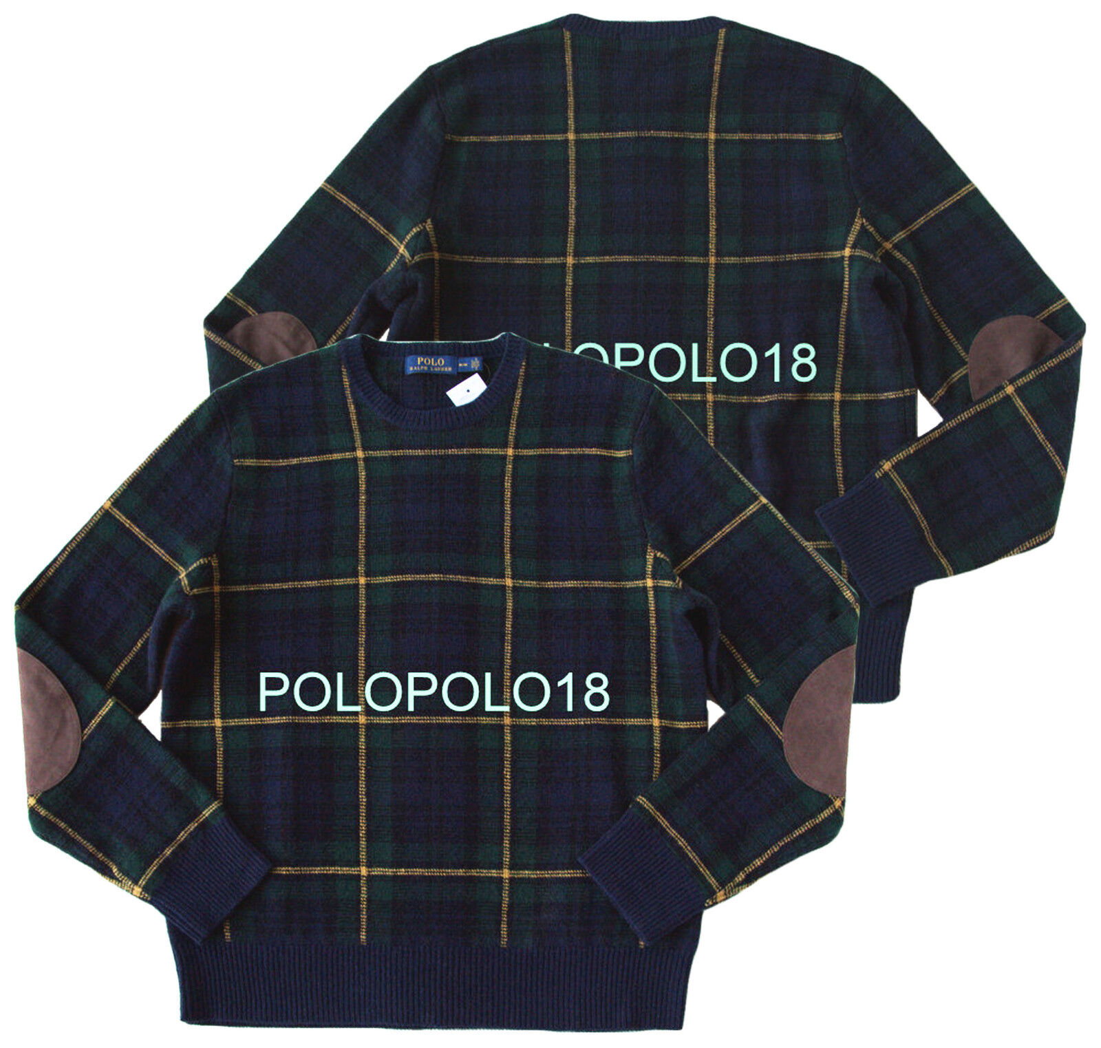 New  Polo Ralph Lauren Wool Leather Elbow Sweater Tartan Plaid XL