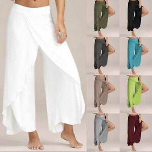 Women-039-s-Wide-Leg-Loose-Harem-Yoga-Pants-Trousers-Flared-Palazzo-Chiffon-Slit