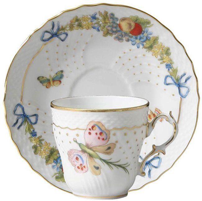 Farfalle Fiorite, Tazza Caffè con piatto, Porcellana, Richard Ginori