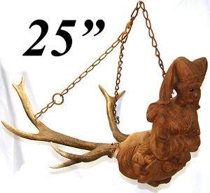 Image Is Loading Rare Antique Black Forest Carved Wood Amp Antlers