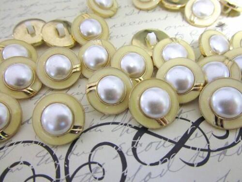 30 Chapado en Oro//Marfil Blanco Perla Bead caña 20mm Boton de costura//recortar//Vestido Sb58