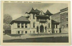 Public Library Santa Ana California CA Street View Black & White Postcard