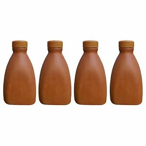Handcrafted Clay Earthen Water Bottle Set of 4 Brown