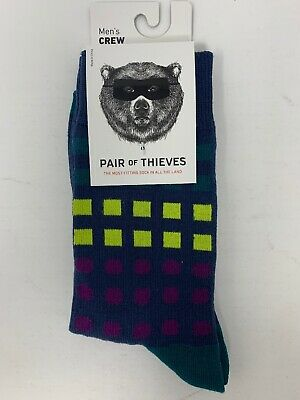 Pair of Thieves Men/'s Crew Sport Performance Socks Size 8-12