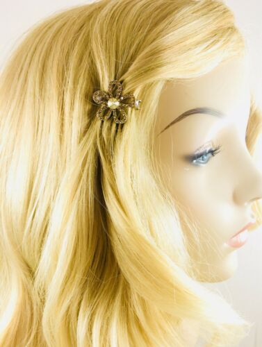 USA Flower Magnet Hair Clip Hairpin  Rhinestone Crystal Small Barrette Brown #2
