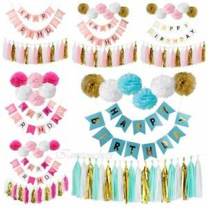 Happy-Birthday-Banner-Set-Kit-Paper-PomPom-Tassel-Wedding-Garland-Party-Decor