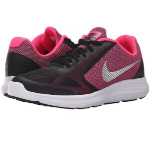 45f0bbdc4d6 Nike Girl Kids  Revolution 3 Running Shoe (GS) Black pink  silver ...