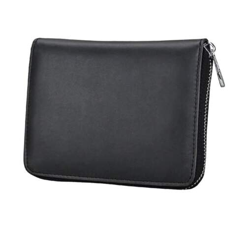 Credit Card Holder Wallet ID Anti-Magnetic RFID Blocking Genuine Leather Purse