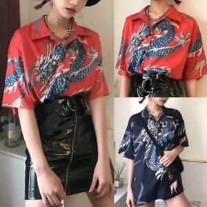 Sommer-Harajuku-Bluse-Shirt-Dragon-Druck-lose-Maenner-Frauen-Kurzarm-F-Top