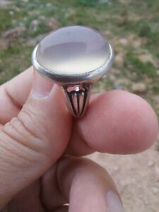 White Aqeeq Ring,Silver Ring,Beautiful Ring,