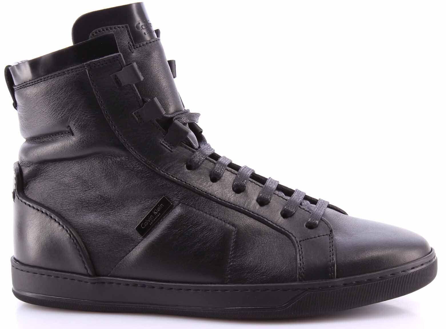 Herren Schuhe High Top Sneaker CALVIN KLEIN Collection 04026/AC SCalf Nero Leder