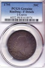 1795 Flowing Hair Half Dollar PCGS FINE F coin coins silver 2 leaves 50 cents