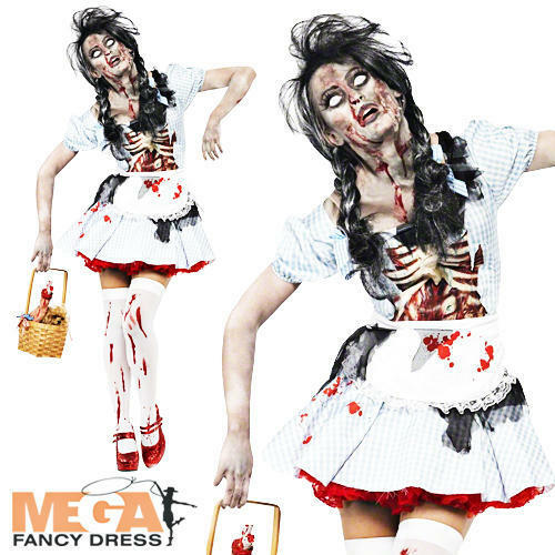 Zombie Dorothy Ladies Halloween Fancy Dress Adults Womens Horror Costume Outfit