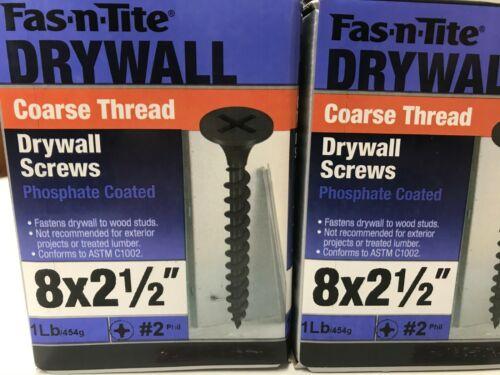 "Black Phosphate 8 x 2-1//2/"" Coarse Thread Drywall Screws 3 LB 3 PK Phillips"