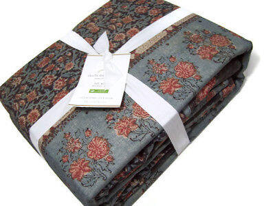 Pottery Barn Multi Colors Navy Blue Elaine Orange Trim Full Queen Duvet Cover