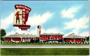 JONESBORO-GA-Georgia-ROBIN-HOOD-MOTEL-c1950s-Roadside-Postcard