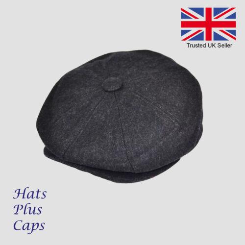 Great Horse 70/% Wool Dark Grey Peaky Blinders Newsboy Flat Cap Gatsby Hat
