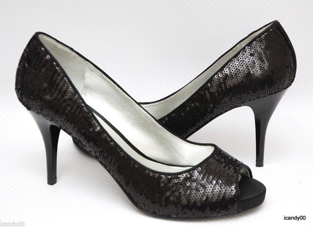 Nib Guess WILLS 4 Sequin Open Toe Pump Heel Shoe Black 10