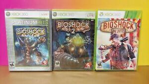 Bioshock 1 + 2 + Infinite Trilogy - Xbox 360 3 Game Bundle Lot Complete Manuals