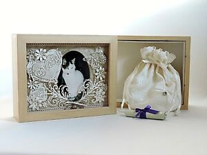 Pet Dog Cat Cremation Casket Urn Combined Memorial Photo Frame And