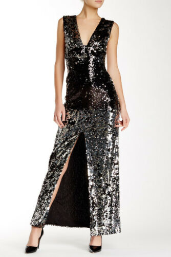 Rachel Zoe Womens Venus Sequined Maxi Gown Dress Sz 0 895