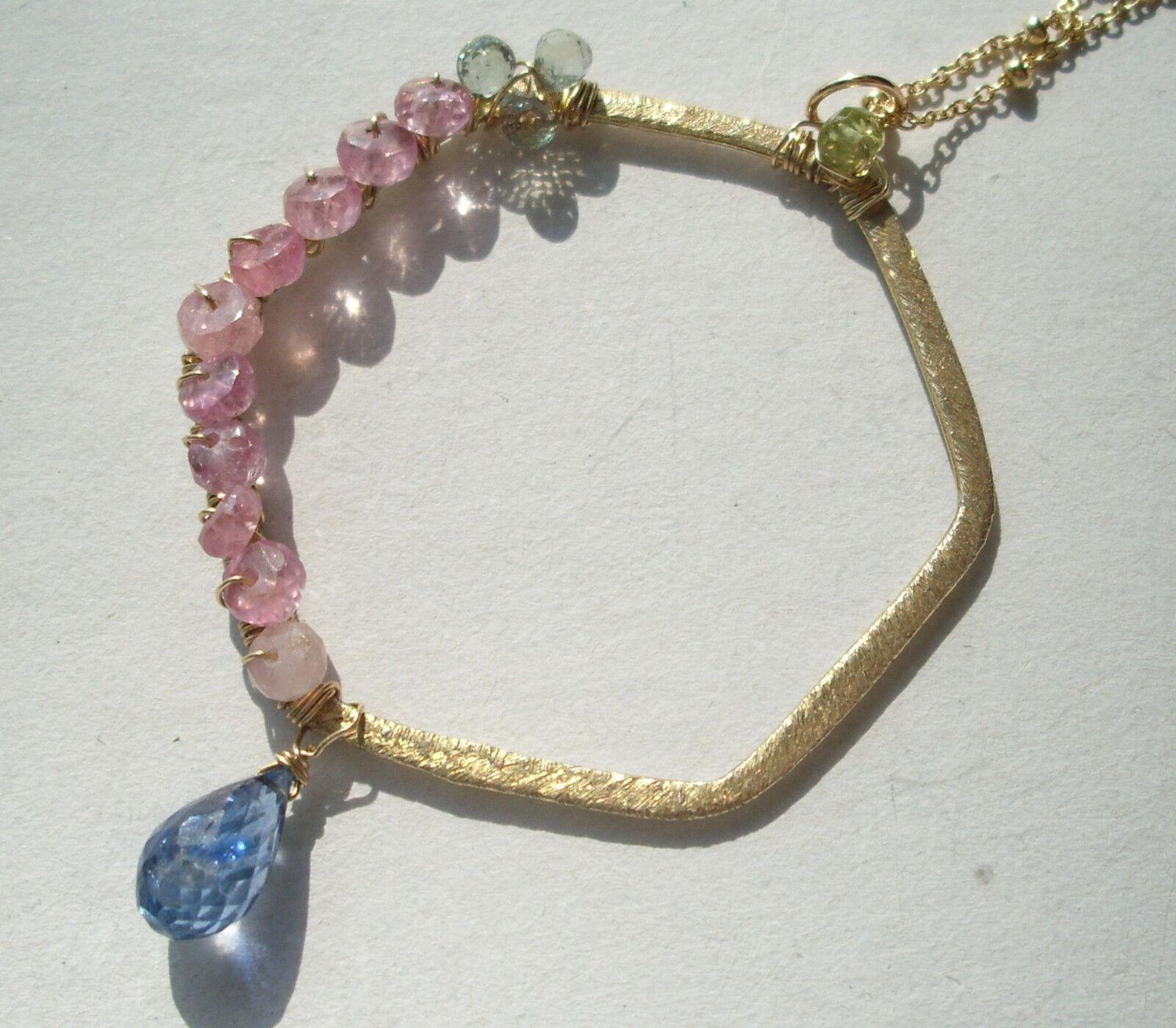 CeS Kette pink und greener Saphir, Kyanit, Disthen und Peridot