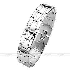 Men's Silver Stainless Steel Link Chain Classic Bracelet Biker Wristband Cuff