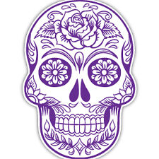 Sugar Skull PURPLE car sticker day of the dead tattoo flower van caravan 7x10cm