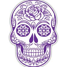 DAY OF THE DEAD SUGAR SKULL PURPLE DECAL CAR STICKER 10CM MEXICAN ROCKABILLY X2