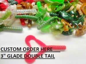 """50-2/"""" Double Tail Grubs Soft Plastic Fishing Baits Crappies Panfish Walleyes"""