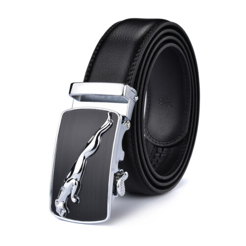 Luxury Men/'s Jaguar Automatic Buckle Belt Genuine Leather Ratchet Strap Jeans