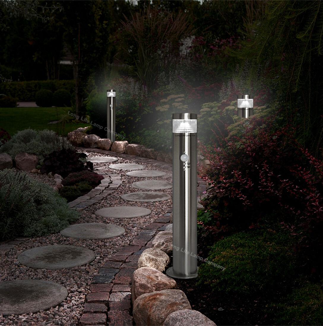 Pir Led Bollard Garden Lamp Post Stainless Steel Outdoor