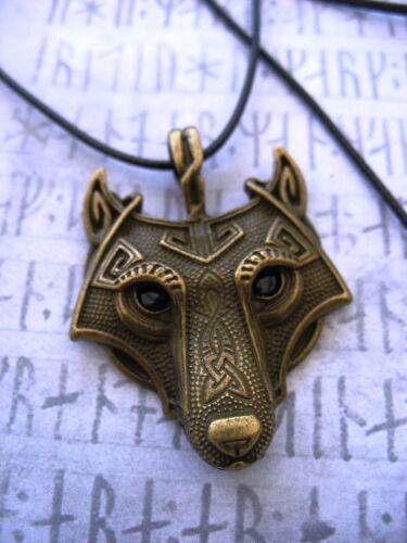 Norse lobo Colgante Collar De Plata De Bronce Fenrir Vikingo Nórdico Tanga Celta