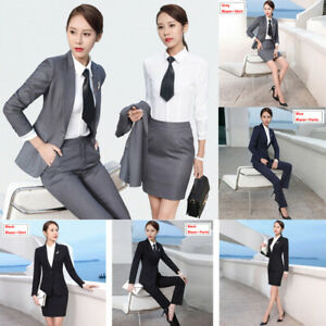 2Pcs-Women-Business-Skirt-Suit-Ladies-Work-Jacket-Blazer-Casual-Trouser-Set