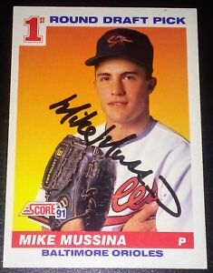 Mike Mussina AUTOGRAPHED 1991 SCORE RC BASEBALL CARD SIGNED BALTIMORE ORIOLES 💎