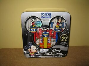 PEZ MICKEY MOUSE 80 YEARS COLLECTOR TIN BOX VINTAGE POSTER NIB Disney limited