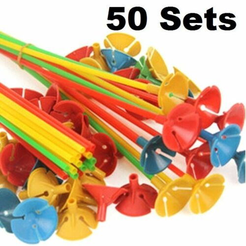 """plastique ballon support bâtons Tasse Fête de Mariage Décoration 10/"""" ~ 50 ensembles ~ FD 4604"""