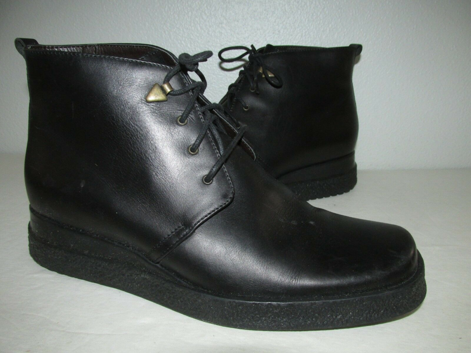 Vintage Stonefly Size EU 37 US 6.5-7 Black Lace Up Leather Wedge Boots