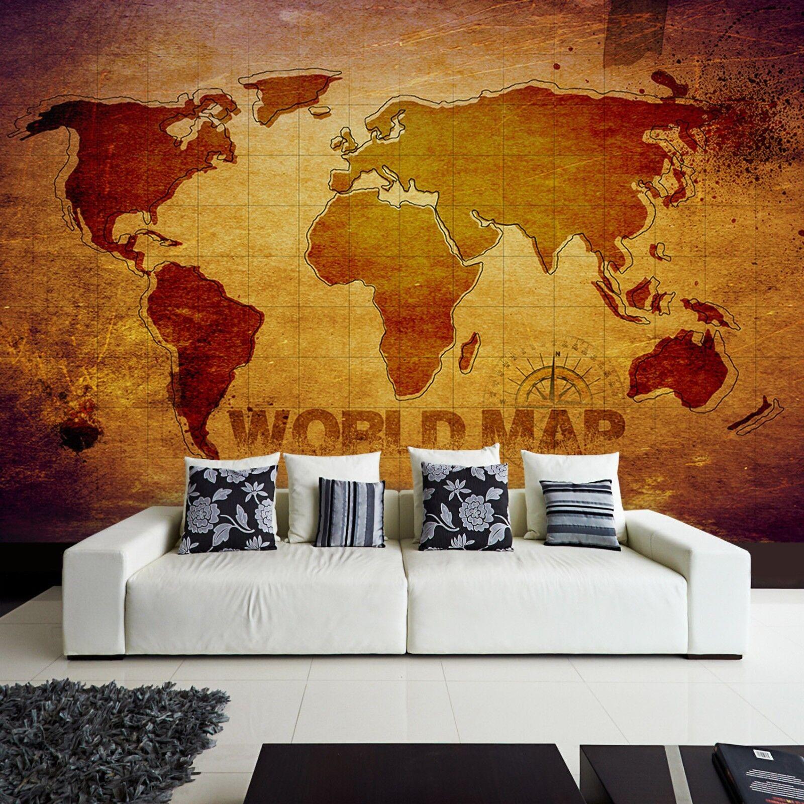 Tapete Vlies Fototapete modernes Design Weltkarte Landkarte Atlas world map