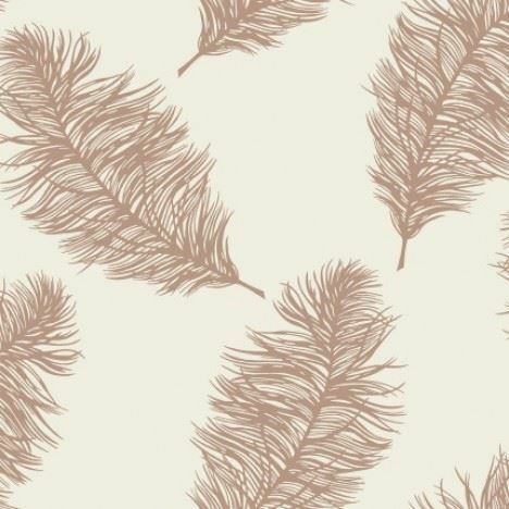 Holden Decor Fawning Feather Cream Rose Gold Metallic Shimmer Wallpaper Feature