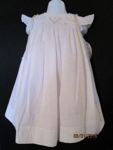 SLIP WHITE /& BLUE TUCKS BULLION ROSES RIBBON WILL BETH HEIRLOOM SMOCKED DRESS