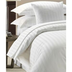 100-LUXURY-HOTEL-QUALITY-COTTON-SATIN-STRIPE-DUVET-COVER-SET-WHITE-300-TC
