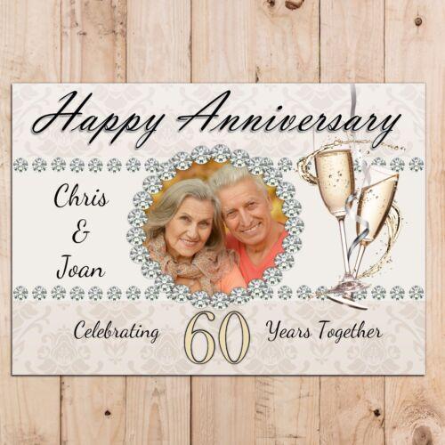 Personalised Diamond 60th Wedding Anniversary PHOTO Poster Banner N49