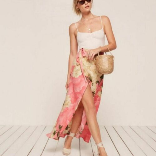 Reformation Lucia Floral Wrap Maxi Skirt Size M