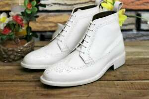 Handmade-Leather-White-Lace-Up-Wing-tip-Brogue-Ankle-High-Boot