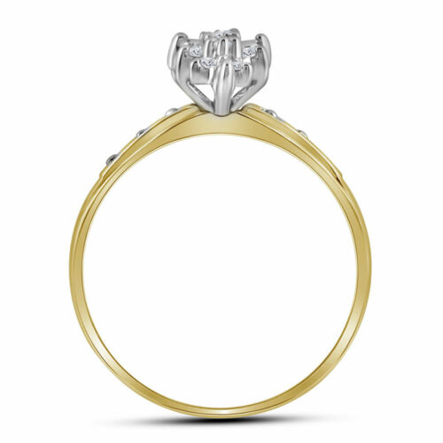 10k Yellow Gold Womens Round Diamond Marquise-shape Cluster Ring 1//10 Cttw