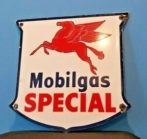 VINTAGE MOBIL GASOLINE PORCELAIN GAS SERVICE STATION SHIELD PEGASUS SIGN