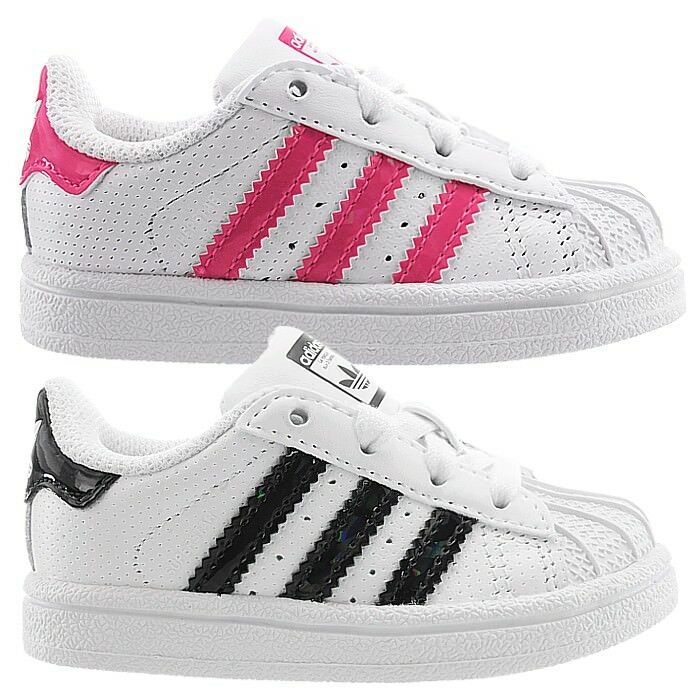 Adidas Superstar I baby shoes low-top sneakers sneakers low-top white with pink or black NEW c84b91