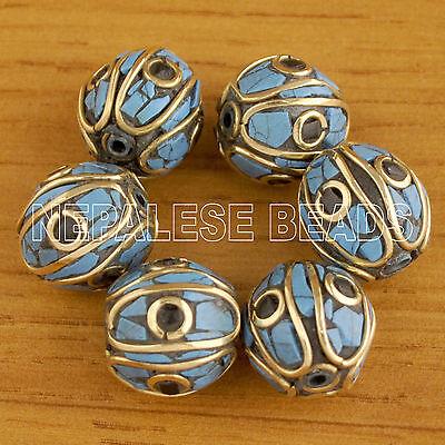 UB2062 Nepalese Artisan Howlite Blue Black Brass 6 Beads from Nepal by EKsha